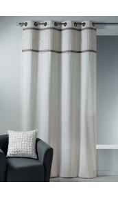Rideau en toile de coton avec parement à plis ivoire
