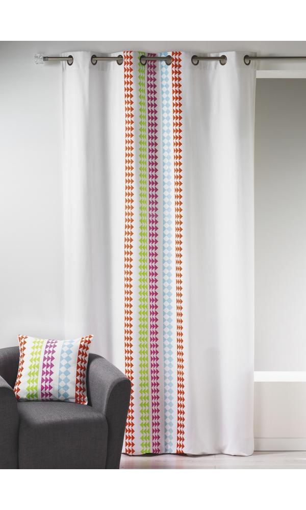Rideau en toile de coton imprimée design (Multicolore)