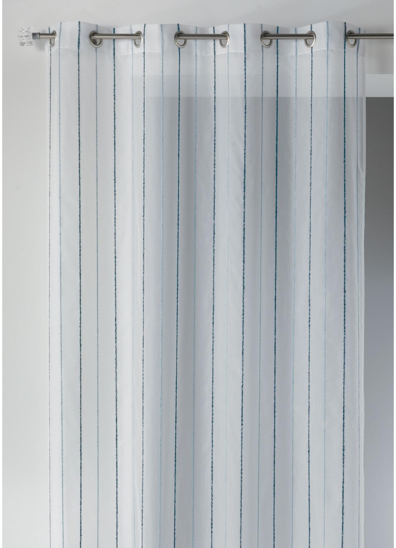 Voilage effet laine à rayures verticales (Bleu)