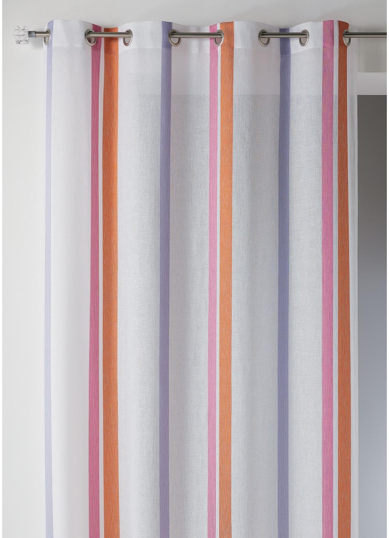 Voilage en étamine à larges rayures verticales (Lin)