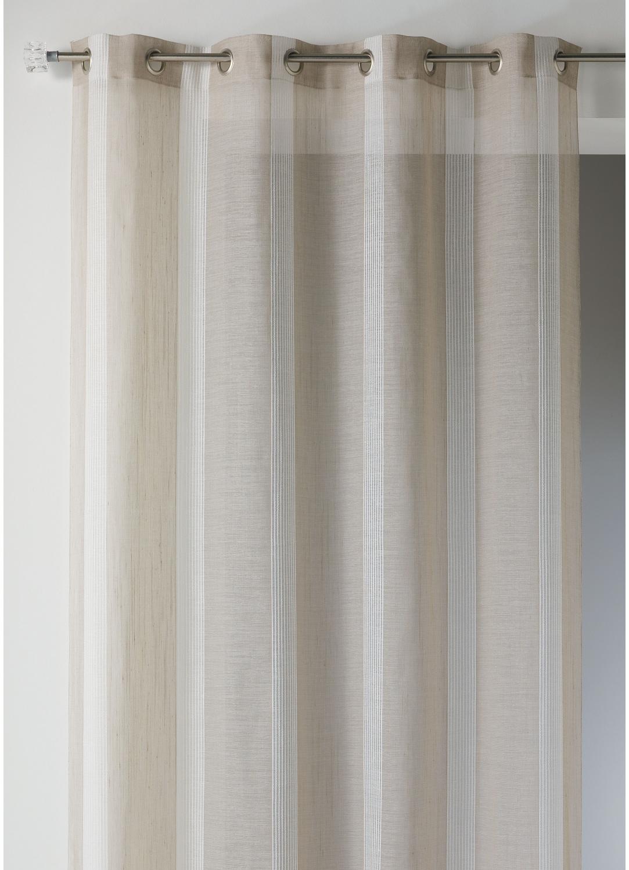 Voilage en tamine rayures verticales ton sur ton lin ivoire gris homemaison vente for Voilage en lin