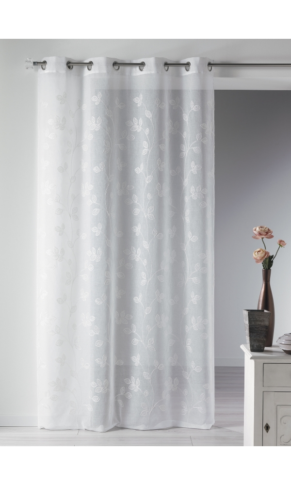 voilage tamine brod e ton sur ton blanc homemaison vente en ligne voilages. Black Bedroom Furniture Sets. Home Design Ideas