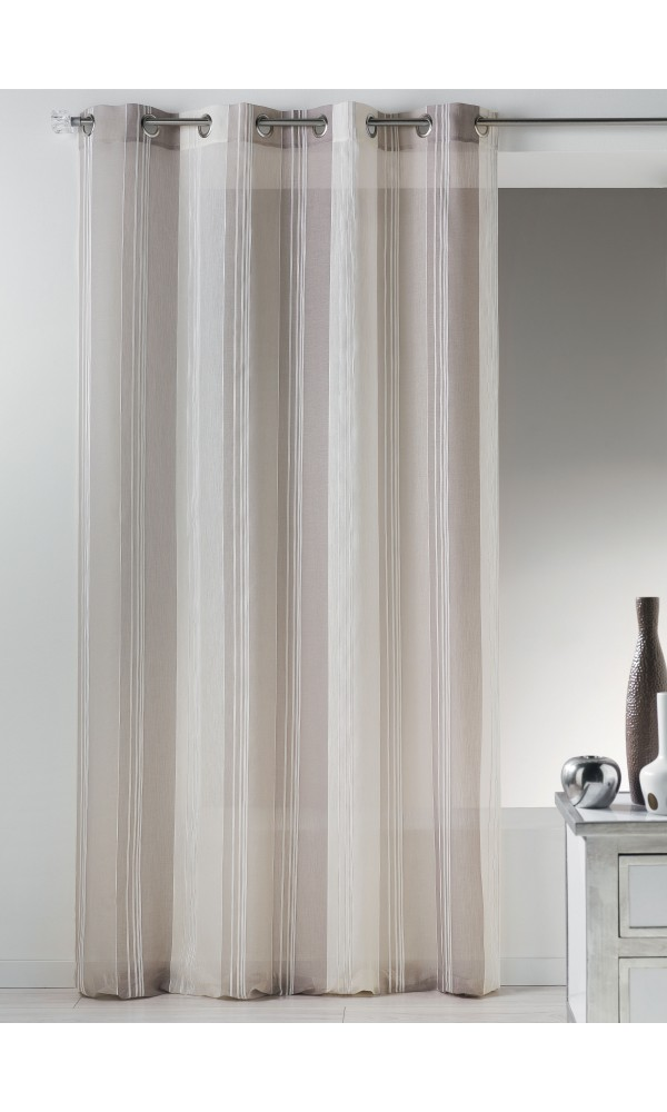 Voilage en étamine fantaisie avec rayures verticales - Taupe - 140 x 260 cm