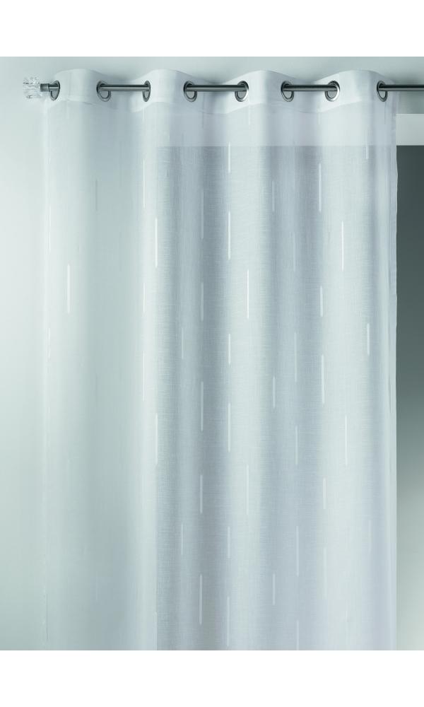 Voilage en étamine jacquard à imprimés fantaisies (Blanc)