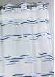 Voilage en étamine tissée de fines rayures horizontales  Marine