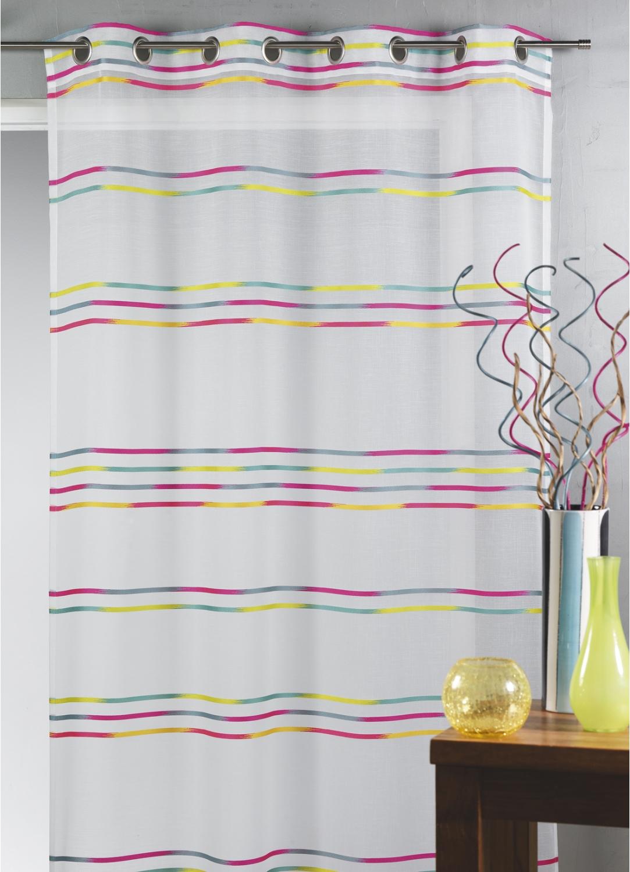 Voilage en étamine tissée de fines rayures horizontales (Multicolore)