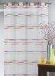 Voilage en étamine tissée de fines rayures horizontales  Multicolore