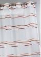 Voilage en étamine tissée de fines rayures horizontales  Terracota