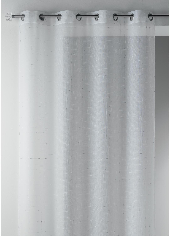 Visillo en estame a liso con hilos lurex blanco topo for Cortina visillo blanco