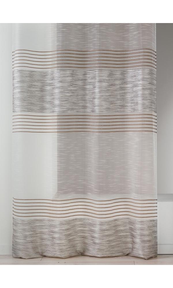 Voilage en organza à fines et épaisses rayures horizontales - Naturel - 140 x 240 cm