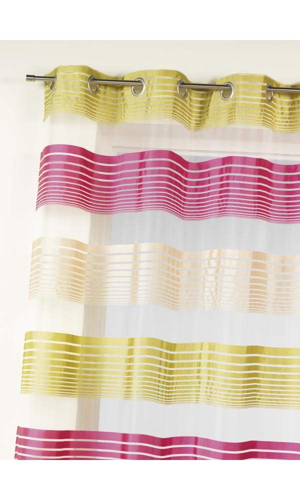 Voilage en organza à fines rayures horizontales - Framboise - 140 x 240 cm