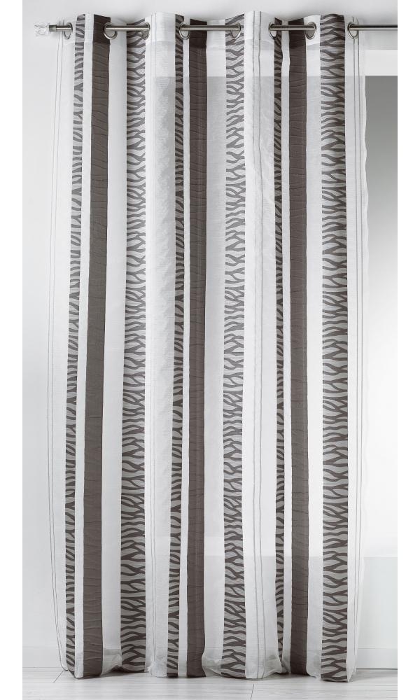 Voilage en organza jacquard à rayures verticales zebrées (Gris)