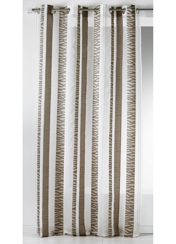 Voilage en organza jacquard à rayures verticales zebrées (Taupe)