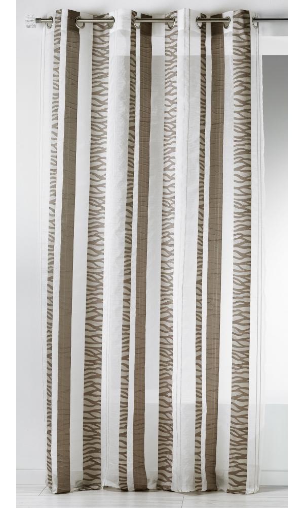Voilage en organza jacquard à rayures verticales zebrées - Taupe - 140 x 260 cm