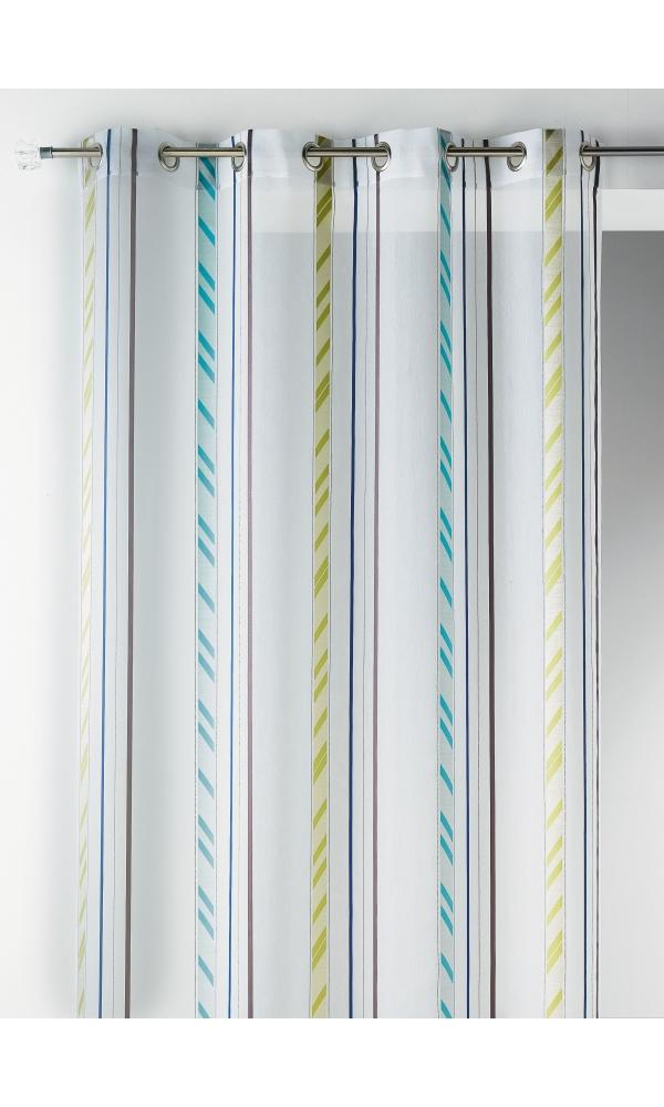 Voilage fantaisie en organza à rayures verticales (Bleu)