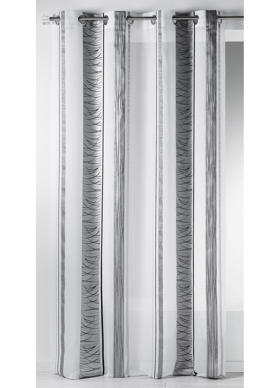 Voilage fantaisie en organza à rayures verticales design (Noir)
