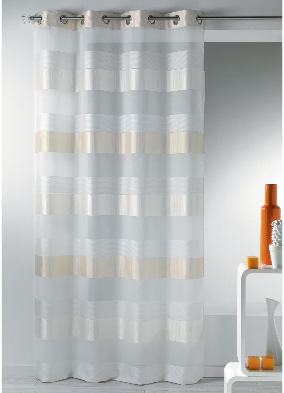 Voilage fantaisie tissée à rayures horizontales (Blanc)