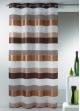 Voilage fantaisie tissée à rayures horizontales  Cognac
