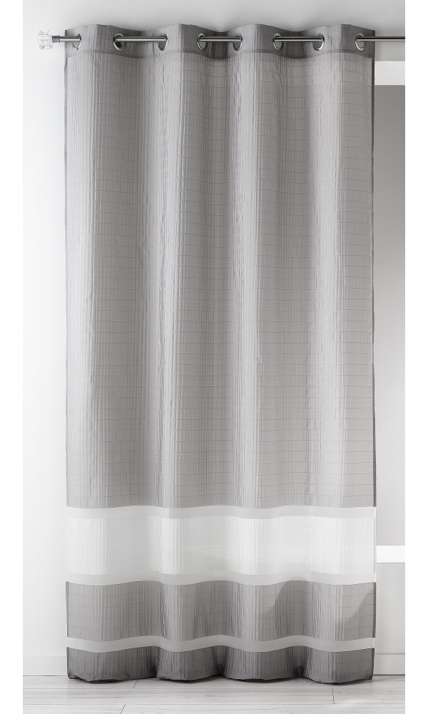 Voilage fantaisie tissée avec rayures horizontales - Gris - 140 x 240 cm
