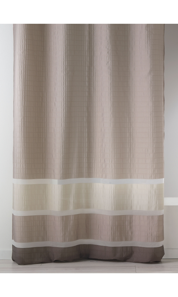 Voilage fantaisie tissée avec rayures horizontales - Taupe - 140 x 240 cm