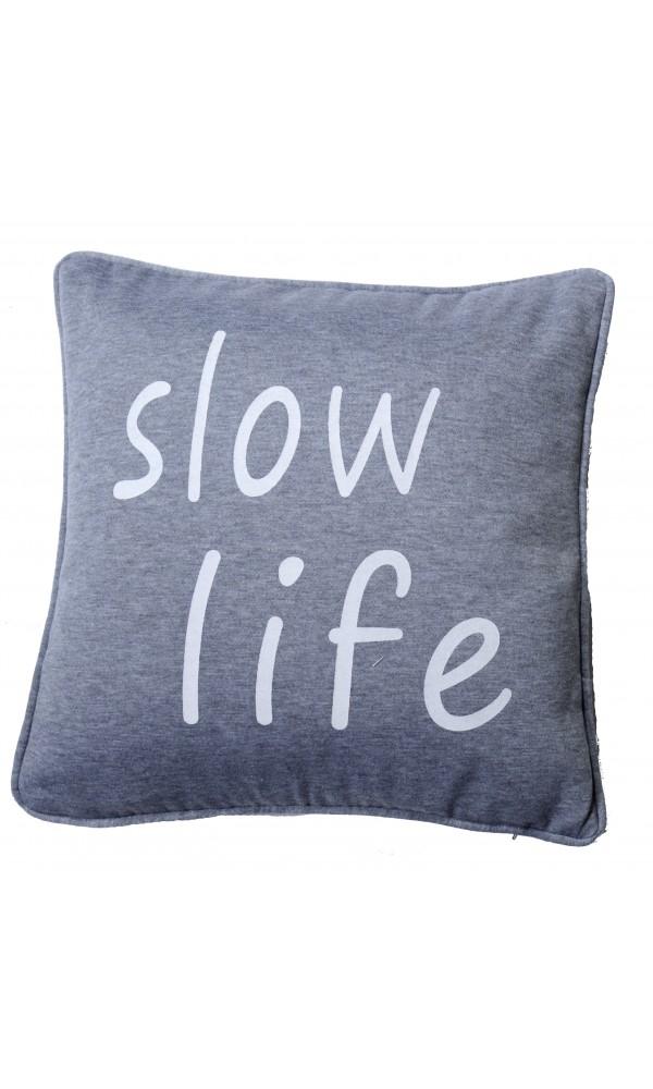 Coussin en Jersey a Imprime Slow Life - Anthracite - 40 x 40 cm. Ce coussin en jersey va vous surprendre par sa douceur et son confort irréproc