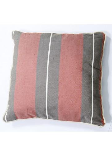 Coussin en Coton à Fines et Epaisses Rayures - Brique - 45 x 45 cm