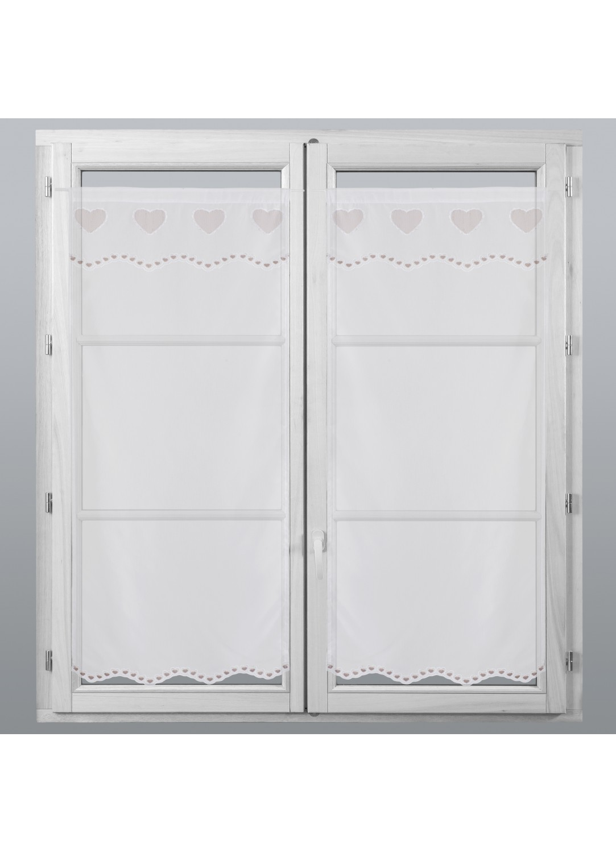 petits voilages vitrages brod s coeur lin homemaison vente en ligne petits voilages vitrages. Black Bedroom Furniture Sets. Home Design Ideas