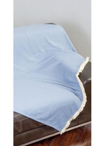 Plaid Uni en Jersey avec Franges - Bleu - 130 x 170 cm. Laissez-vous séduire par le toucher exceptionnellement doux de ce plaid en jersey ! Il