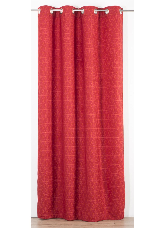 Rideau en Jacquard Réversible à Motifs Design  (Rouge)