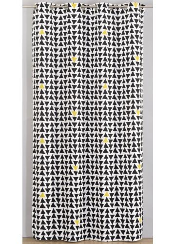 Rideau en Toile à Motifs Triangulaires - Noir - 135 x 260 cm. Apportez du relief et du design à votre décoration d'intérie