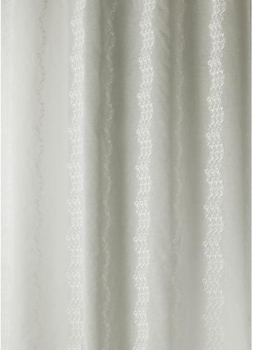 Tissu en Etamine Brodée à Rayures Verticales Fantaisies