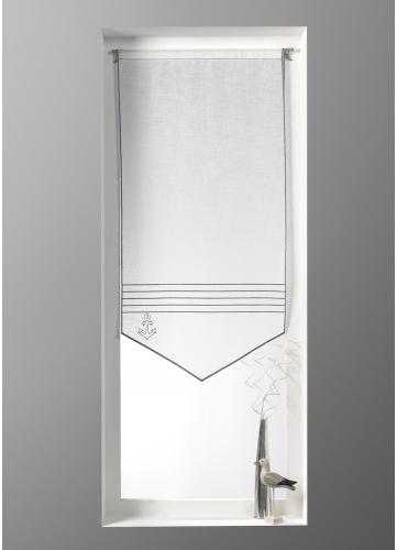 petit voilage en tamine imprim s marin blanc gris homemaison vente en ligne petits. Black Bedroom Furniture Sets. Home Design Ideas