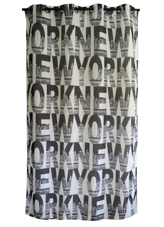 Voilage Imprimé Motif 'New York' (Noir)