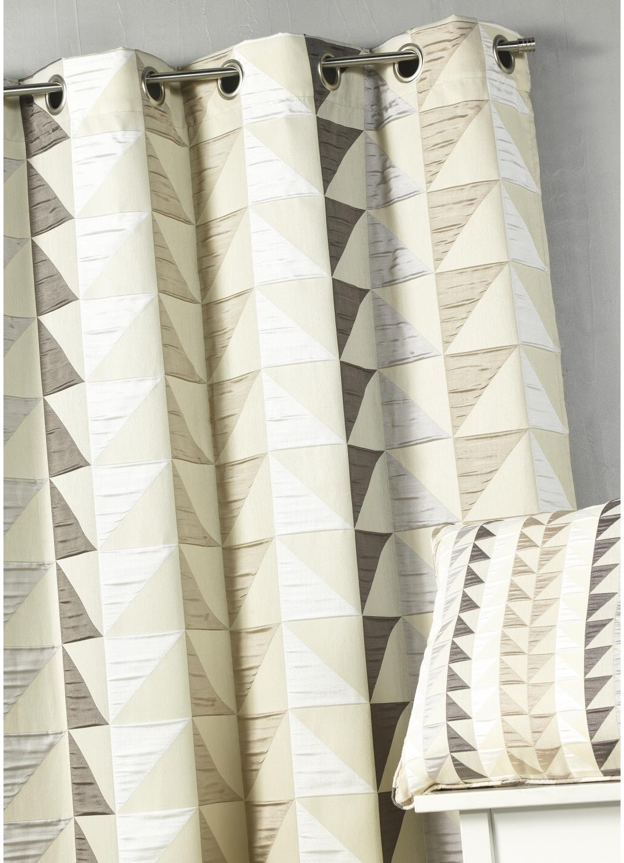 Rideau en jacquard imprimés triangulaires   (Beige)