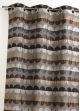 Rideau en jacquard à rayures horizontales et motifs arrondis  Taupe