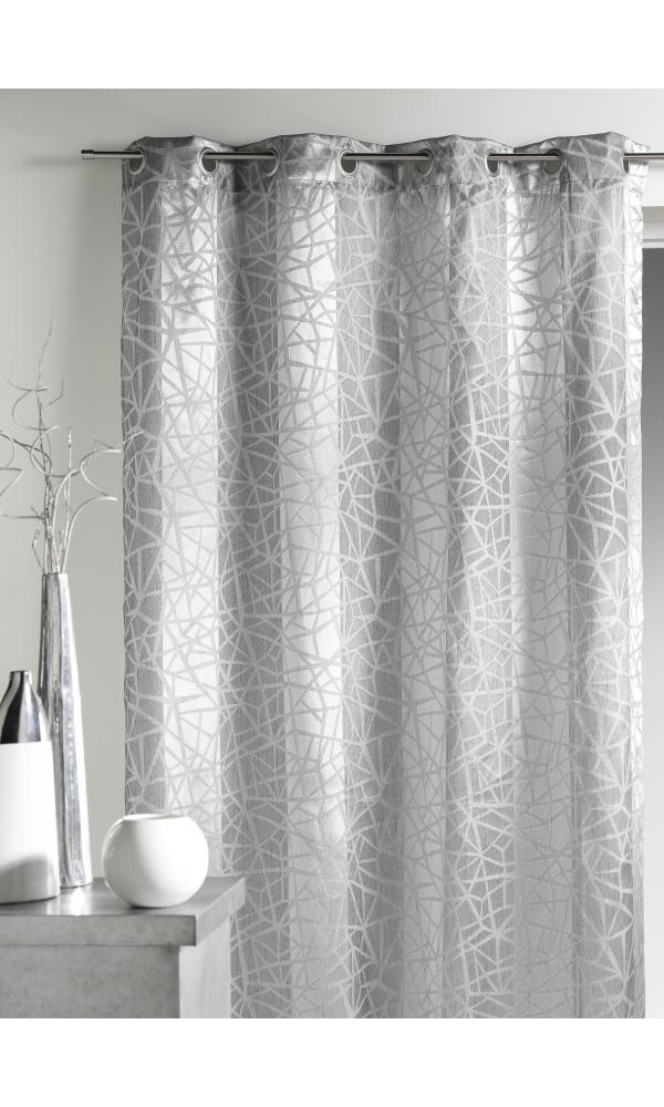 rideau en jacquard imprim s et rayures verticales argent prune piment homemaison. Black Bedroom Furniture Sets. Home Design Ideas