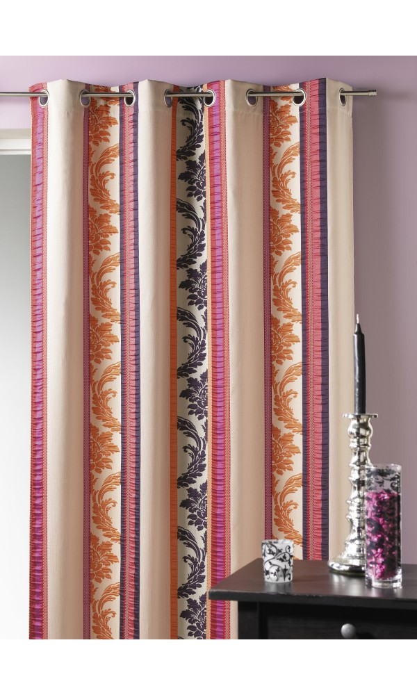 Rideau en jacquard à rayures verticales multicolores (Mandarine)