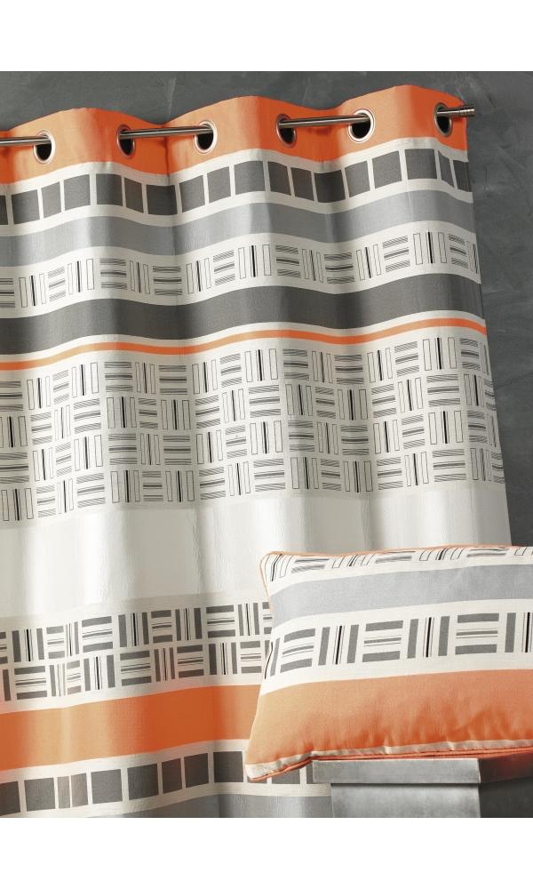 rideau orange et gris hoze home. Black Bedroom Furniture Sets. Home Design Ideas