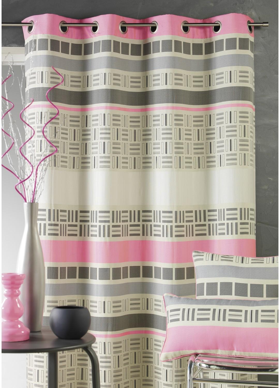 Rideau en jacquard design à rayures horizontales (Rose)