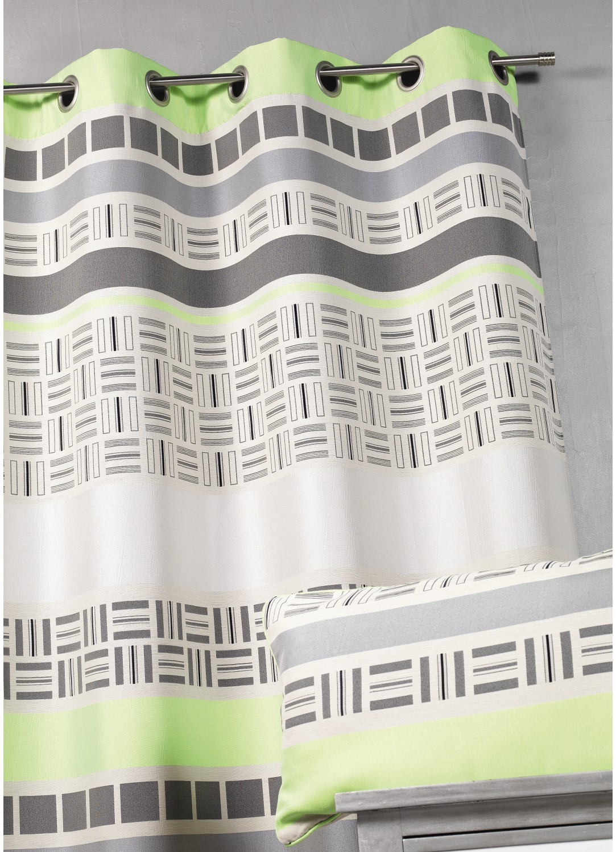 Rideau en jacquard design à rayures horizontales (Vert)
