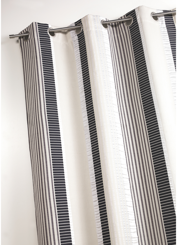 Rideau en jacquard fantaisie rayures verticales bambou for Rideau fantaisie
