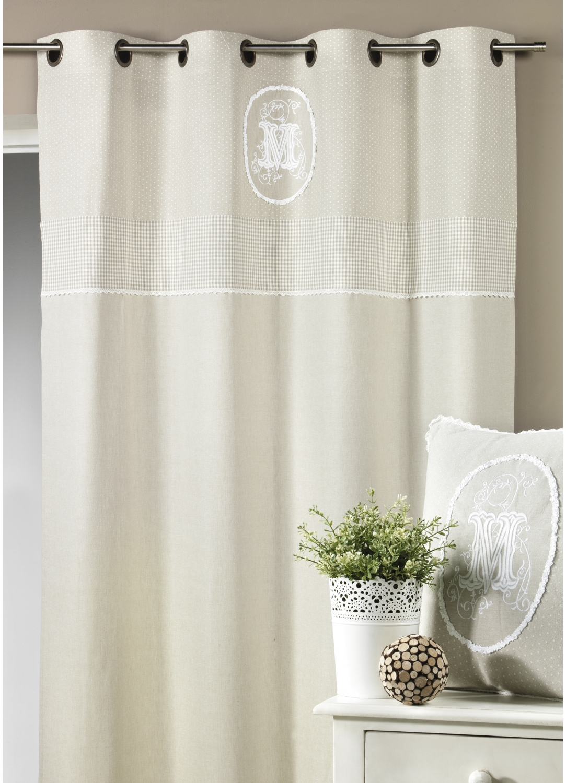 rideau en toile de coton brod 233 e avec parement haut beige homemaison vente en ligne rideaux