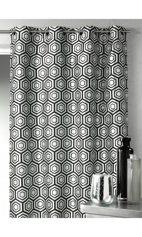 rideau en jacquard motifs g om triques argent homemaison vente en ligne rideaux. Black Bedroom Furniture Sets. Home Design Ideas
