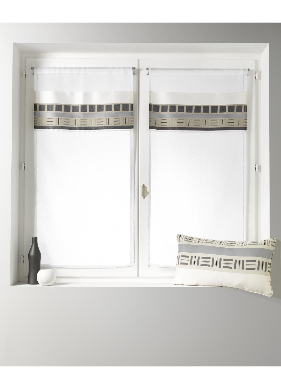 Voilage vitrage en étamine avec parement haut design (Blanc)