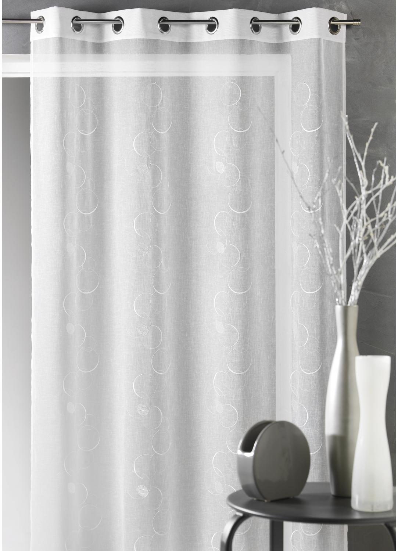 Voilage design en étamine brodée (Blanc)