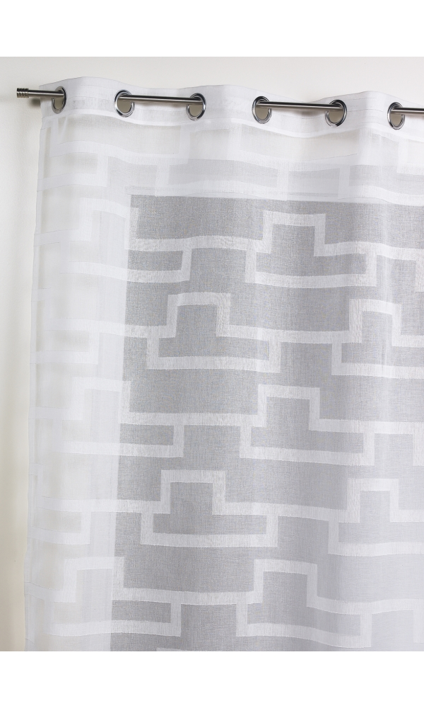 Voilage en étamine à imprimés géométriques orchidée - Blanc - 140 x 260 cm