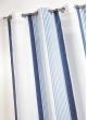 Voilage en étamine à fines rayures verticales colorées  Bleu