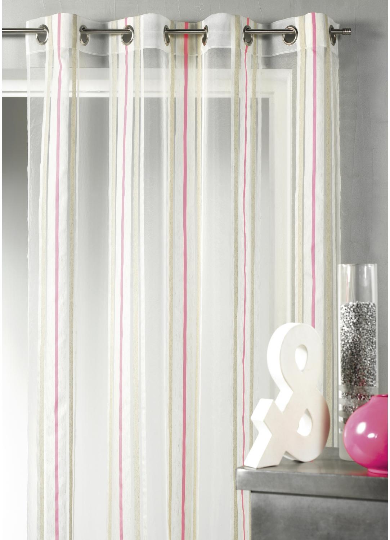 voilage en tamine rayures verticales fluo rose orange vert homemaison vente en. Black Bedroom Furniture Sets. Home Design Ideas