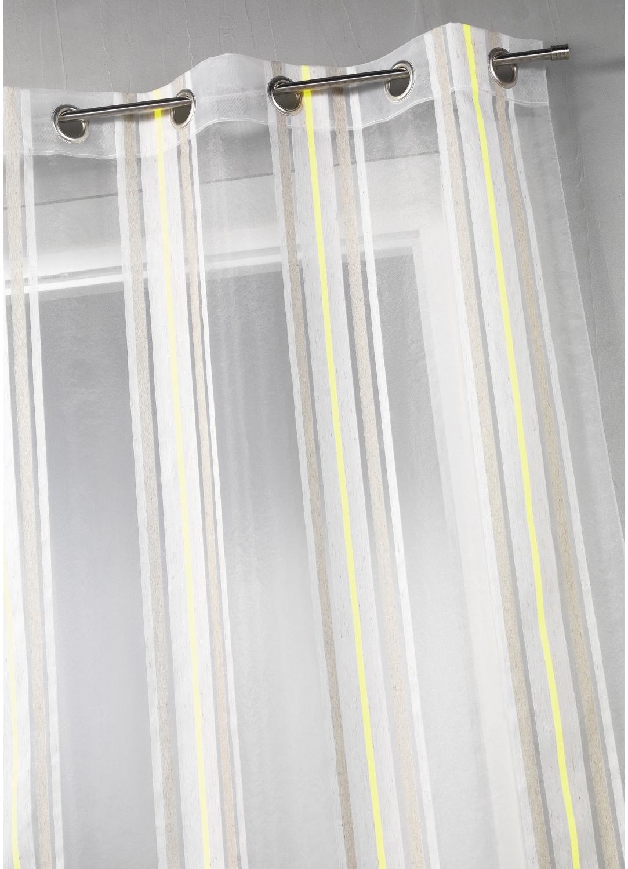 Voilage en étamine à rayures verticales fluo (Vert)