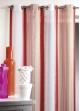 Voilage en étamine à fines rayures verticales colorées  Mandarine